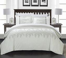 Chic Home 3-Piece Michael Embroidered Contemporary Duvet Set