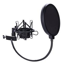 Microphone Shock Mount with 6 Inch Mic Round Shape Wind Pop