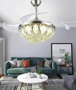 "Modern 42"" Ceiling Fan Crystal Remote Control with Lights In"