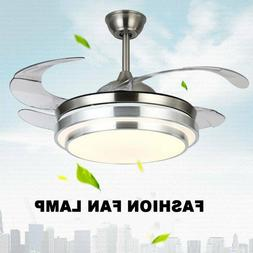 """Modern 42"""" Invisible Ceiling Fans with 3-Color LED Light Fan"""
