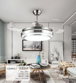 "Modern 42"" LED Invisible Ceiling Fan Light Dining Room Chand"