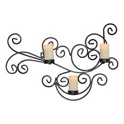 Candle Impressions Modern Bronze Scroll Candle Holder with 3