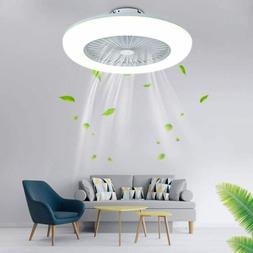 Modern Ceiling Fan Dimmable LED Light Adjustable Wind Speed