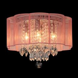 Dst Modern Chandelier Pink Shade Flush Mount Crystal Ceiling
