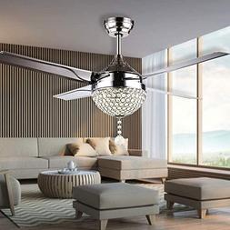 RainierLight Modern Crystal Ceiling Fan Lamp LED 3 Changing