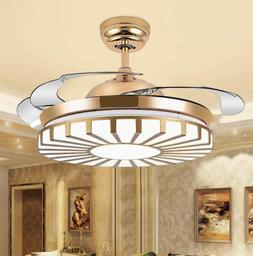 Modern Gold Invisible Ceiling Fan Lamp LED 3-Color Change Pe