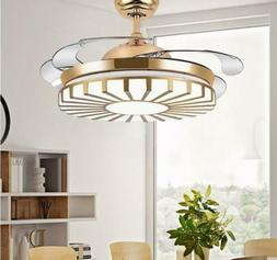 Modern Gold Invisible Ceiling Fan Light Chandelier Pendant F