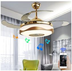 Modern Smart Ceiling Fan Chandelier Light Bluetooth Remote M