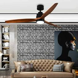 "Modern Solid wood 52"" 3 blade fan.  Walnut finish, indoor/ou"