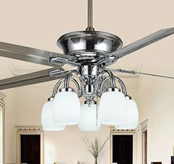 Rainierlight Modern Stainless Steel Ceiling Fan 5 Light 5 Me