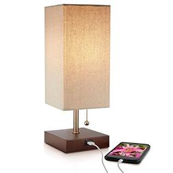 Modern Brown Table Lamp, USB Port w New Improved 2 amp Charg
