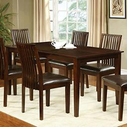 Montego Transitional Style Walnut Finish 5-Piece Dining Tabl