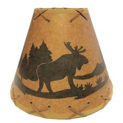 9 Inch Moose Rustic Lamp Shade.Click on Photos to View Sizin