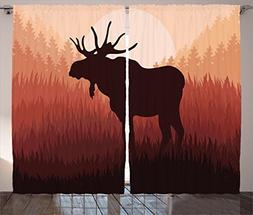 Moose Curtains 2 Panel Set by Ambesonne, Antlers in Wild Ala