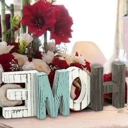 New Rustic Wood HOME Sign Standing Cutout Letters Art Wooden