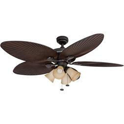 NIB Palm Island 52-Inch Tropical Ceiling Fan w 4 Sunset Shad