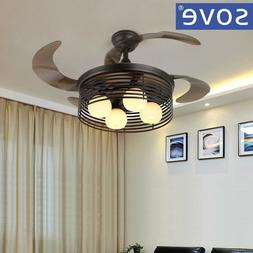 Nordic Village Folding Ceiling Fan With  Lights Black Retrac