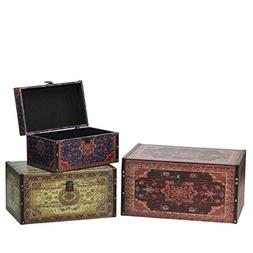 Set of 3 Oriental-Style Red, Brown and Cream Earth Tones Dec
