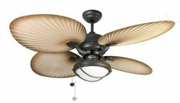 Outdoor ceiling fan light with pull cords PALM CHOCOLATE Pat