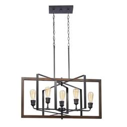 Home Decorators Palermo Grove 5-Light Black Gilded Iron Lin