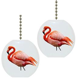 Set of 2 Beautiful Pink Flamingo Solid Ceramic Fan Pulls