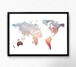 Pink World Map Poster, Size 5x7, 8x10, 11x14 and more, Great