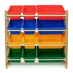 Primary Natural Toy Storage Organizer with 12 Plastic Multi