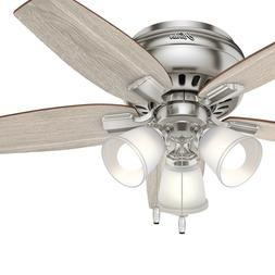 Hunter 42 in. Low Profile Ceiling Fan with LED Light in Brus