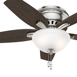 "Hunter Fan 42"" Hugger Ceiling Fan in Brushed Nickel with Cas"
