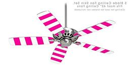 Psycho Stripes Hot Pink and White - Ceiling Fan Skin Kit fit