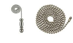 """Pull Chain Extension,36"""" Brushed Nickel Beaded ball chain wi"""