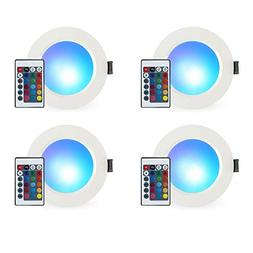 LED Recessed Lighting, 3 Inch 5W RGB Recessed Light Color Ch