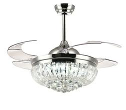 "Siljoy 36"" Retractable Crystal Ceiling Fans with Lights and"