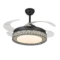 42 Inch Retractable Fan with Remote Control and Dimmable Lig