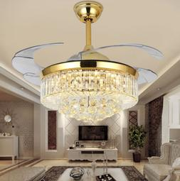 Retractable Gold Crystal Ceiling Fan Light LED Chandelier Pe