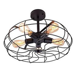 OYI Retro Industrial Fan Style Metal Cage Ceiling Light, 5 L