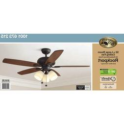 "Hampton Bay Rockport 52"" Large Room Ceiling Fan with Light"