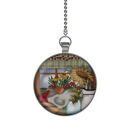 Rooster and Sunflowers Window Ceiling Fan / Light Pull Penda
