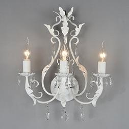 Docheer Rustic Iron Crystal Wall Chandelier Lamp Candle Hold