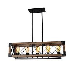 Baiwaiz Rustic Wood Chandeliers, Metal Rectangular Chandelie