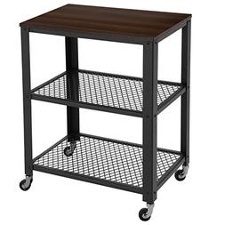 SONGMICS Rustic Kitchen Serving Cart Rolling Utility Storage