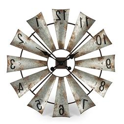 Rustic Metal Round Windmill Wall Clock 30""