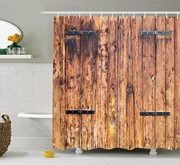 Ambesonne Rustic Shower Curtain, Antique Timber Planks in We