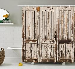 Rustic Shower Curtain by Ambesonne, Vintage House Entrance w