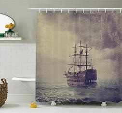 Ambesonne Nautical Shower Curtain, Old Pirate Ship in the Se