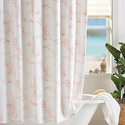 Shower Curtain A Pattern Play Of Pink Flamingos In A Blush H