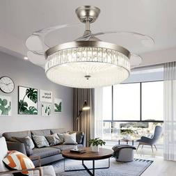 """Silver 42""""/36"""" Invisible Ceiling Fan Light LED 3-Color Chang"""