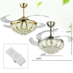 "Silver 42"" Crystal Invisible Ceiling Fan Light LED Chandelie"