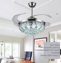 Silver Crystal Ceiling Fan Light Lamp Chandelier LED Lightin