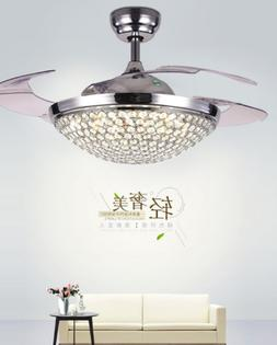Silver Crystal Invisible Ceiling Fan Light Chandelier Pendan